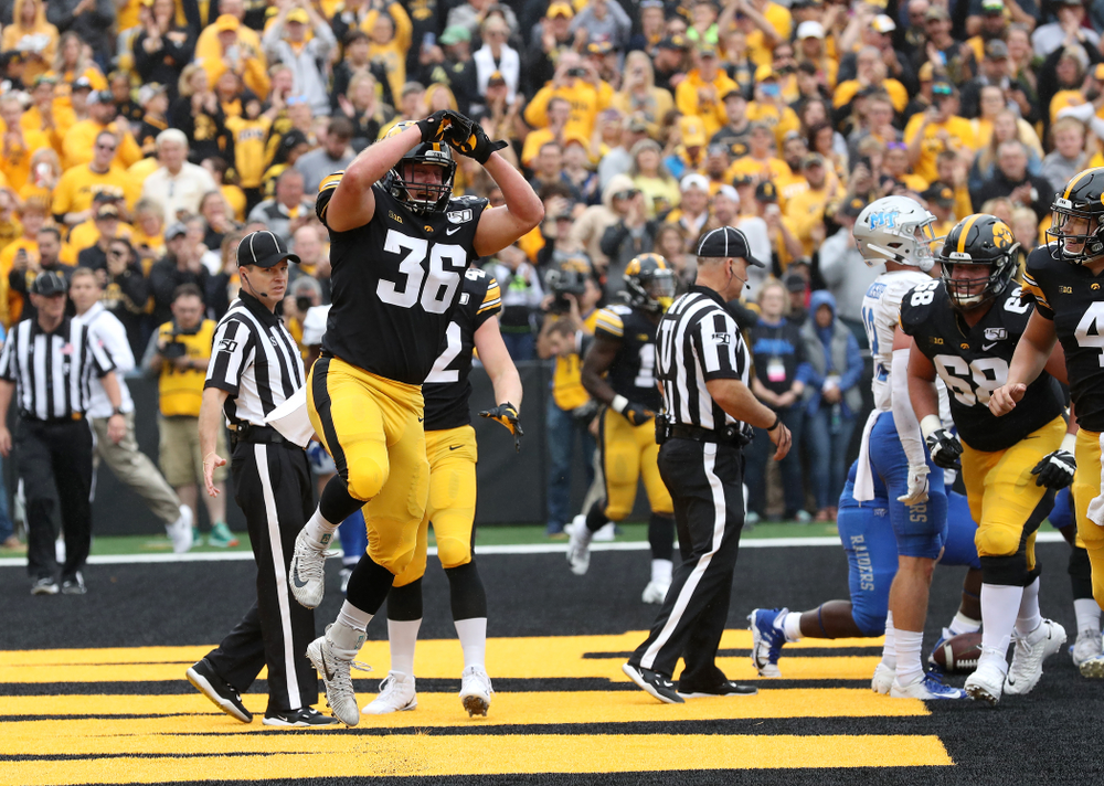 Iowa Hawkeyes fullback Brady Ross (36) celebrates after scoring a touchdown against Middle Tennessee State Saturday, September 28, 2019 at Kinnick Stadium. (Brian Ray/hawkeyesports.com)