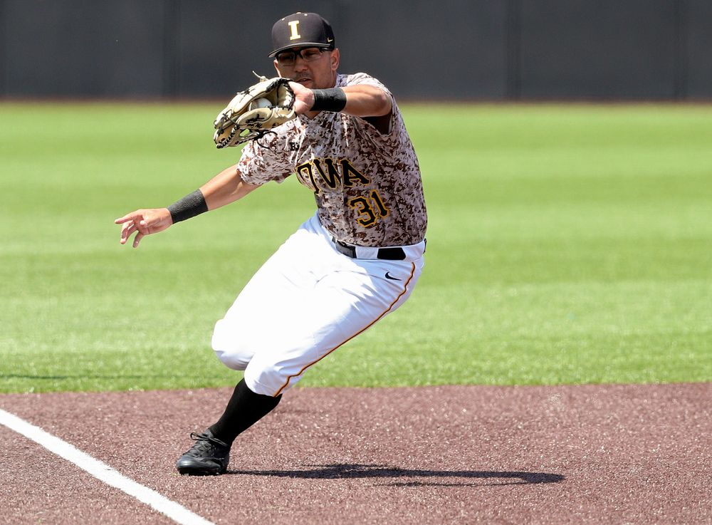 Iowa Hawkeyes third baseman Matthew Sosa (31) fields a hit during the fourth inning of their game against UC Irvine at Duane Banks Field in Iowa City on Sunday, May. 5, 2019. (Stephen Mally/hawkeyesports.com)