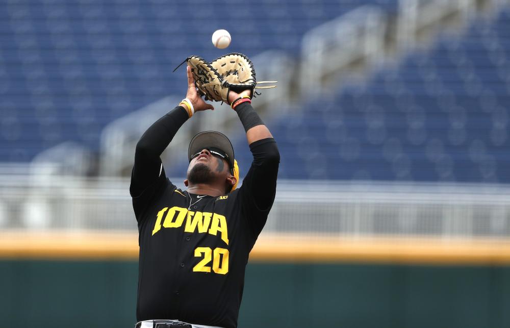 Iowa Hawkeyes Izaya Fullard (20) against the Nebraska Cornhuskers in the first round of the Big Ten Baseball Tournament Friday, May 24, 2019 at TD Ameritrade Park in Omaha, Neb. (Brian Ray/hawkeyesports.com)