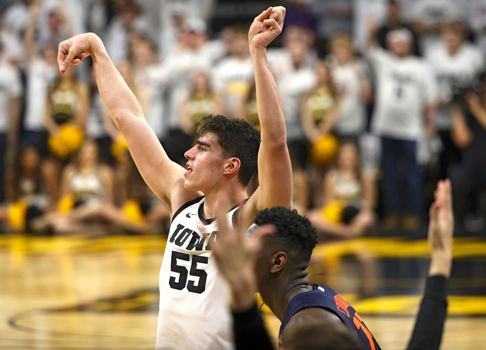 Iowa Hawkeyes center Luka Garza (55) puts up a shot during the second half of the game at Carver-Hawkeye Arena in Iowa City on Sunday, February 2, 2020. (Stephen Mally/hawkeyesports.com)