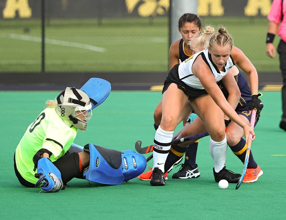 Iowa's Katie Birch (11) scores a goal during the fourth quarter of their game at Grant Field in Iowa City on Friday, Sep 13, 2019. (Stephen Mally/hawkeyesports.com)
