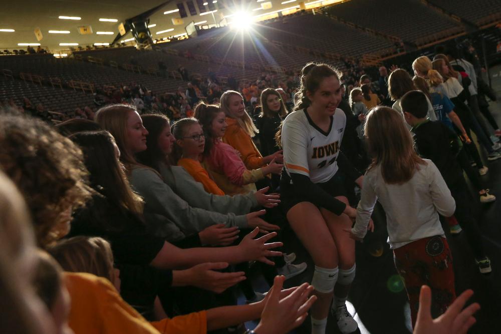 Iowa Hawkeyes middle blocker Blythe Rients (11) during Iowa volleyball vs Maryland on Saturday, November 30, 2019 at Carver-Hawkeye Arena. (Lily Smith/hawkeyesports.com)