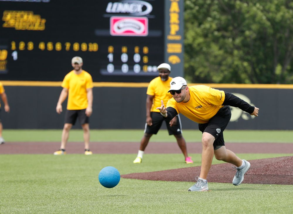 Assistant Director of Football Operations Ben Hansen during the Iowa Student Athlete Kickoff Kickball game  Sunday, August 19, 2018 at Duane Banks Field. (Brian Ray/hawkeyesports.com)