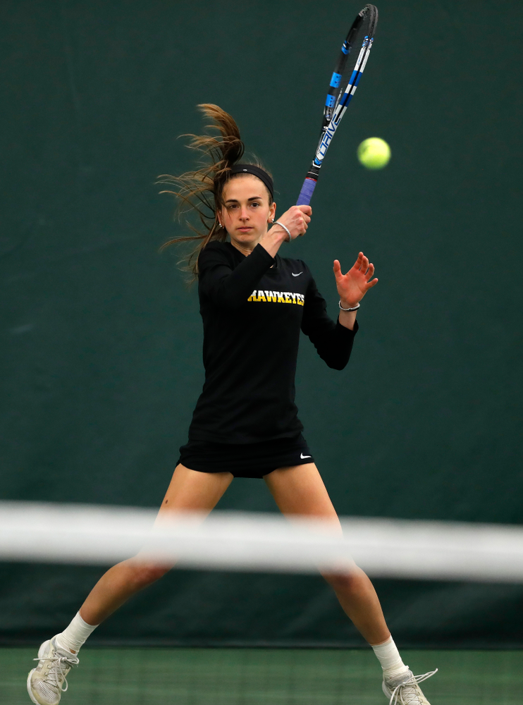 Adrienne Jensen against Ohio State Sunday, March 25, 2018 at the Hawkeye Tennis and Recreation Center. (Brian Ray/hawkeyesports.com)