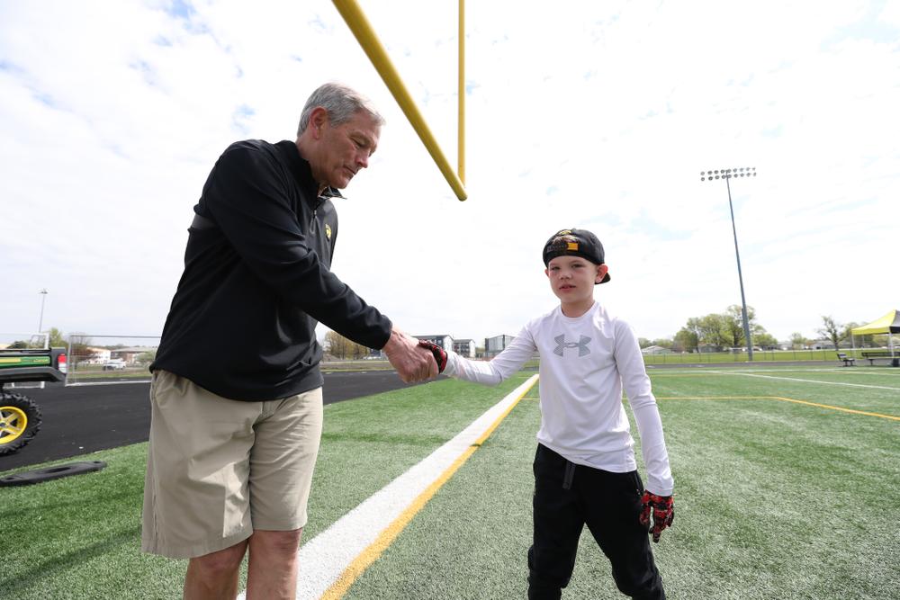 The Hawkeye Football youth clinic Saturday, May 4, 2019 in Johnston. (Max Allen/hawkeyesports.com)