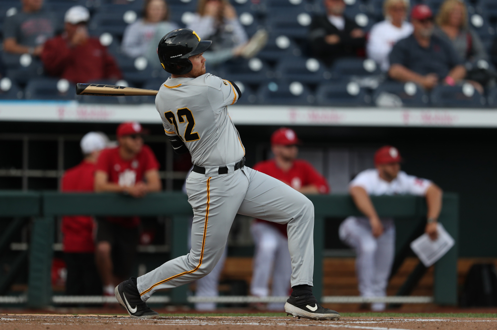 Iowa Hawkeyes Tanner Padgett (22) against the Indiana Hoosiers in the first round of the Big Ten Baseball Tournament Wednesday, May 22, 2019 at TD Ameritrade Park in Omaha, Neb. (Brian Ray/hawkeyesports.com)
