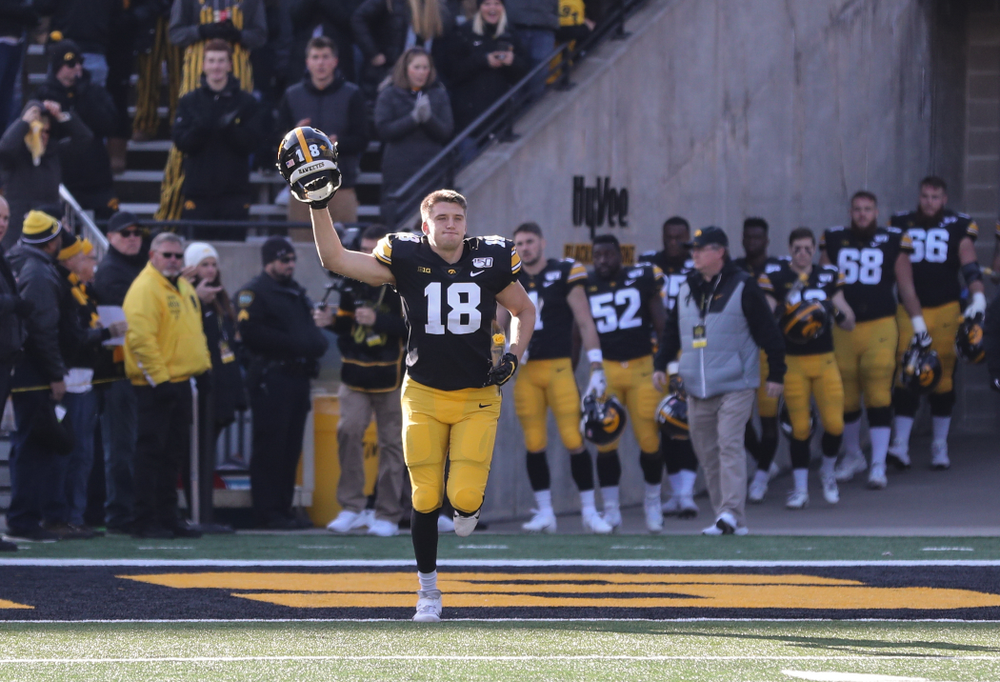 Iowa Hawkeyes tight end Drew Cook (18) during Senior Day festivities before their game against the Illinois Fighting Illini Saturday, November 23, 2019 at Kinnick Stadium. (Brian Ray/hawkeyesports.com)