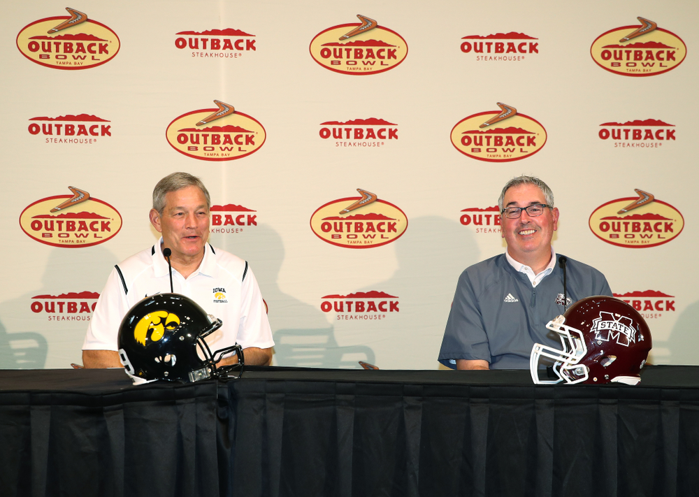 Iowa Hawkeyes head coach Kirk Ferentz and Mississippi State head coach Joe Moorhead answer questions during the Outback Bowl coach's press conference Saturday, December 29, 2018 in Tampa, FL. (Brian Ray/hawkeyesports.com)
