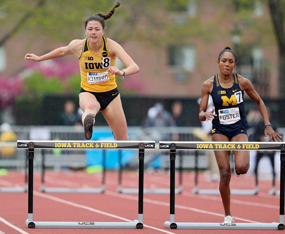 Iowa's Jenny Kimbro runs the women's 400 meter hurdles event on the third day of the Big Ten Outdoor Track and Field Championships at Francis X. Cretzmeyer Track in Iowa City on Sunday, May. 12, 2019. (Stephen Mally/hawkeyesports.com)
