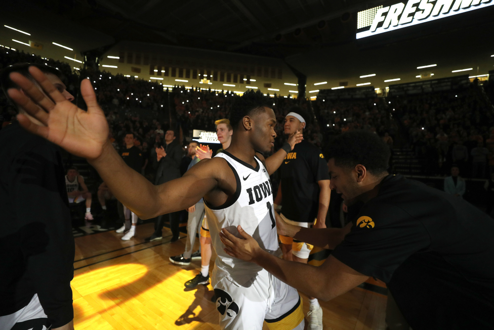 Iowa Hawkeyes guard Joe Toussaint (1) against the Purdue Boilermakers Tuesday, March 3, 2020 at Carver-Hawkeye Arena. (Brian Ray/hawkeyesports.com)