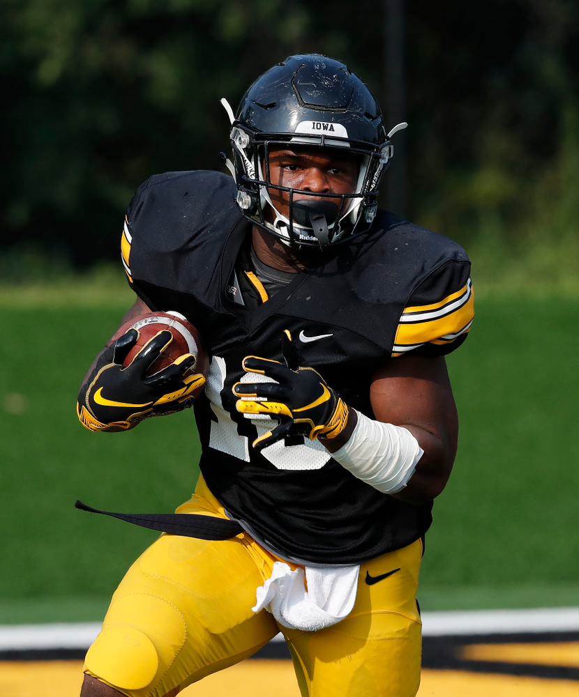 Iowa Hawkeyes running back Mekhi Sargent (10) during camp practice No. 16 Tuesday, August 21, 2018 at the Hansen Football Performance Center. (Brian Ray/hawkeyesports.com)