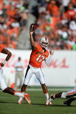 University of Miami Hurricanes quarterback Stephen Morris #17 completed 12 of 25 passes for 162 yards and 2 touchdowns in a game against the Georgia...