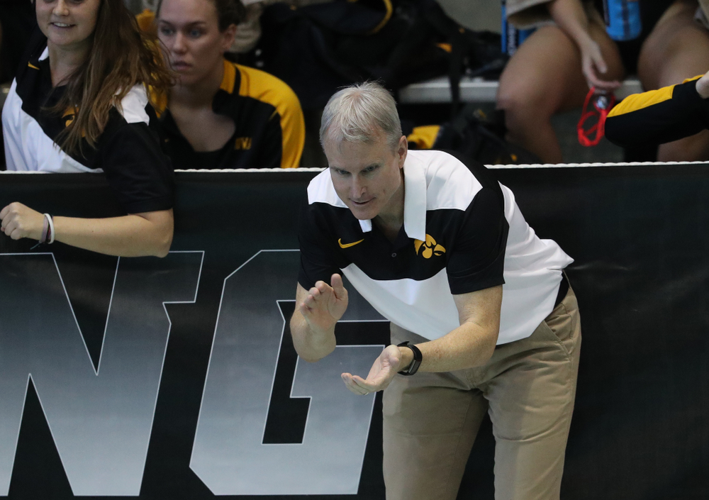 Iowa Head Coach Marc Long during a double dual against Wisconsin and Northwestern Saturday, January 19, 2019 at the Campus Recreation and Wellness Center. (Brian Ray/hawkeyesports.com)