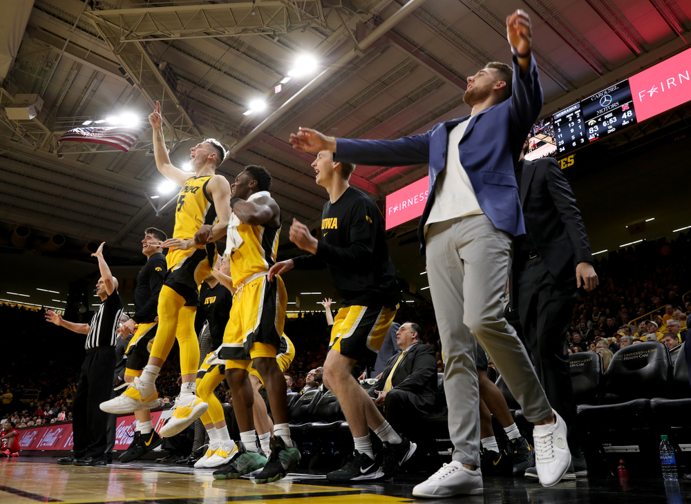 The Iowa Hawkeyes bench celebrates against the Nebraska Cornhuskers Saturday, February 8, 2020 at Carver-Hawkeye Arena. (Brian Ray/hawkeyesports.com)