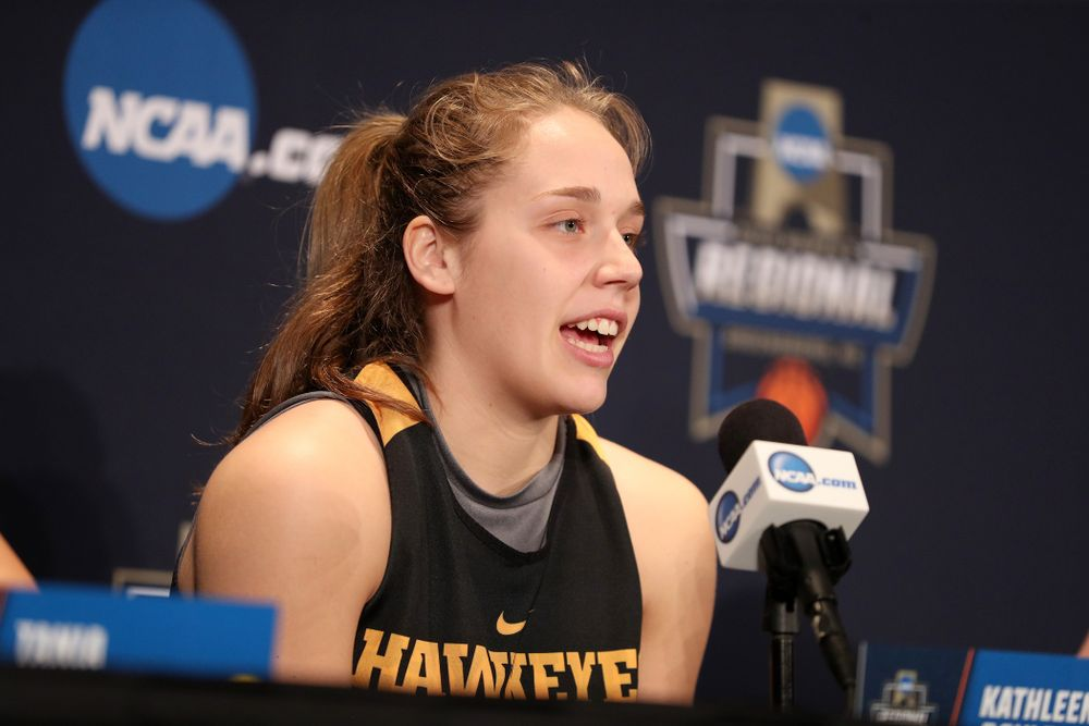 Iowa Hawkeyes guard Kathleen Doyle (22) during practice and media before the regional final of the 2019 NCAA Women's College Basketball Tournament against the Baylor Bears Sunday, March 31, 2019 at Greensboro Coliseum in Greensboro, NC.(Brian Ray/hawkeyesports.com)