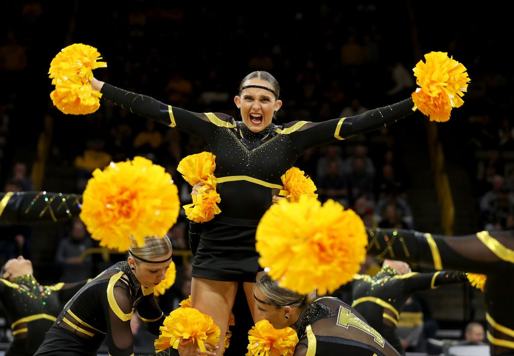 The Iowa Dance Team performs at halftime of the Iowa Hawkeyes game against the Maryland Terrapins Friday, January 10, 2020 at Carver-Hawkeye Arena. (Brian Ray/hawkeyesports.com)