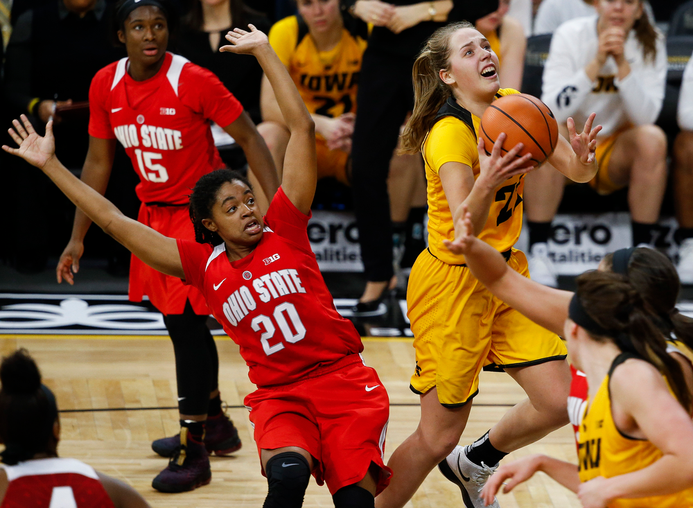 Iowa Hawkeyes guard Kathleen Doyle (22) goes up for a layup during a game against the Ohio State Buckeyes at Carver-Hawkeye Arena on January 25, 2018. (Tork Mason/hawkeyesports.com)