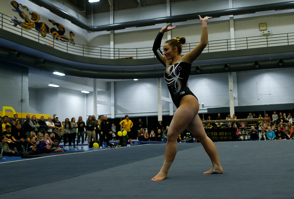 Breanna Fitzke competes in the floor exercise during the Black and Gold Intrasquad meet at the Field House on 12/2/17. (Tork Mason/hawkeyesports.com)