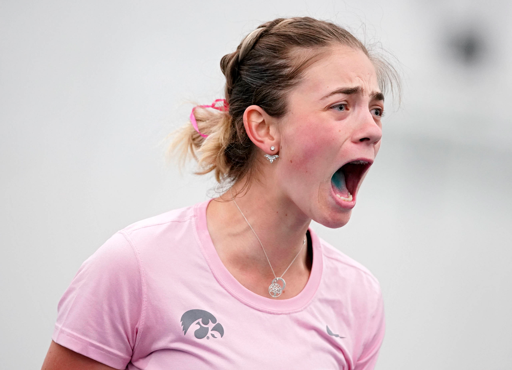 Iowa's Sophie Clark celebrates after winning her match against Purdue at the Hawkeye Tennis and Recreation Complex in Iowa City on Friday, Mar. 29, 2019. (Stephen Mally/hawkeyesports.com)