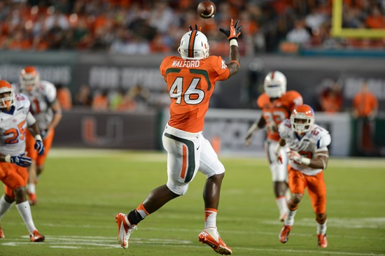 Clive Walford #46 and the 14th ranked University of Miami Hurricanes will play the Georgia Tech Yellow Jackets at Sun Life Stadium on October 5, 2013....