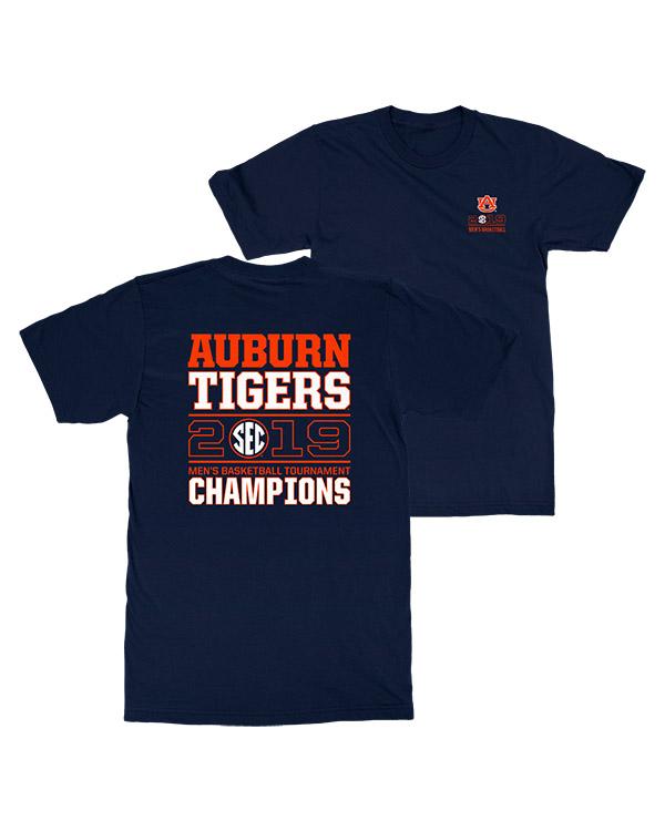 Official Auburn Tigers 2019 Sec Basketball Tournament Champs Classic Block Design T Shirt Auburn Tigers Shop