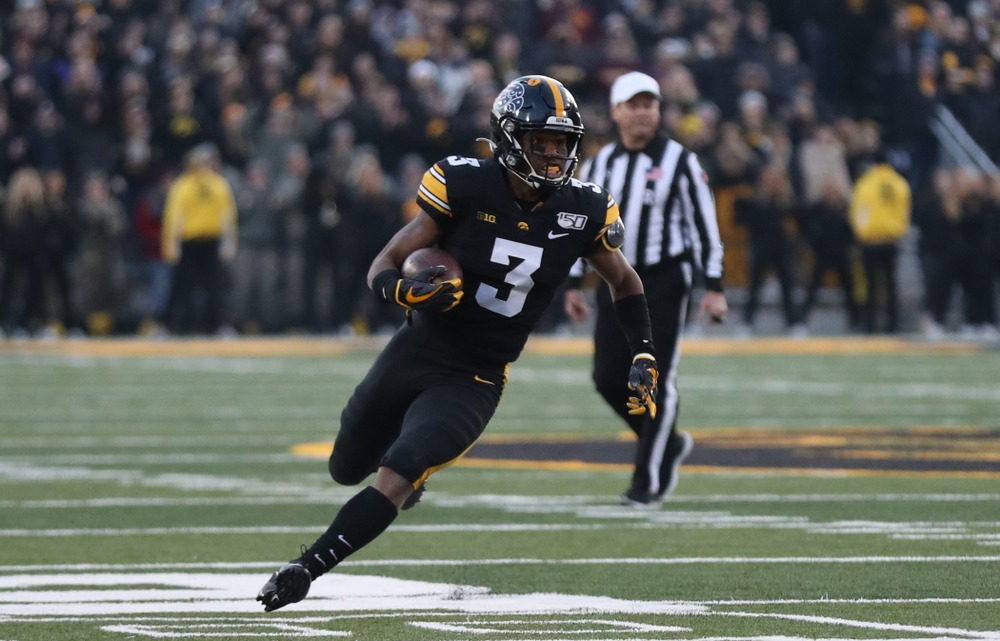 Iowa Hawkeyes wide receiver Tyrone Tracy Jr. (3) against Minnesota Saturday, September 28, 2019 at Kinnick Stadium. (Max Allen/hawkeyesports.com)