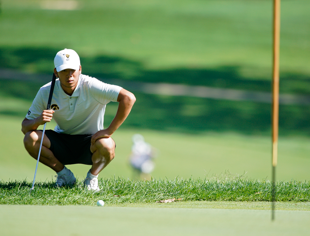 Iowa's Joe Kim lines up a putt during the second day of the Golfweek Conference Challenge at the Cedar Rapids Country Club in Cedar Rapids on Monday, Sep 16, 2019. (Stephen Mally/hawkeyesports.com)