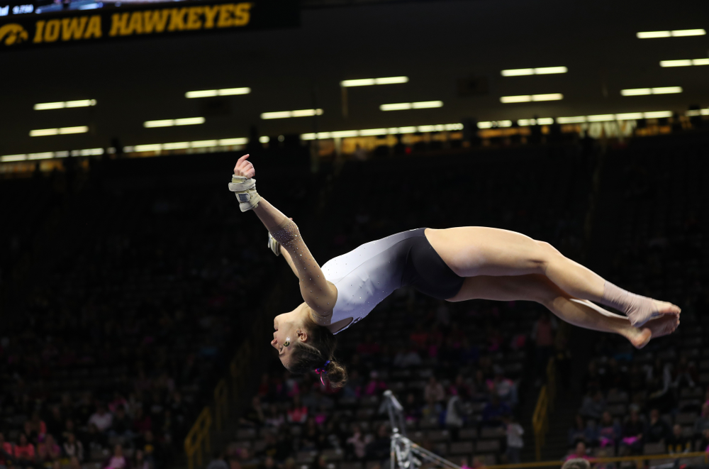 IowaÕs Allie Gilchrist competes on the beam against Ball State and Air Force Saturday, January 11, 2020 at Carver-Hawkeye Arena. (Brian Ray/hawkeyesports.com)
