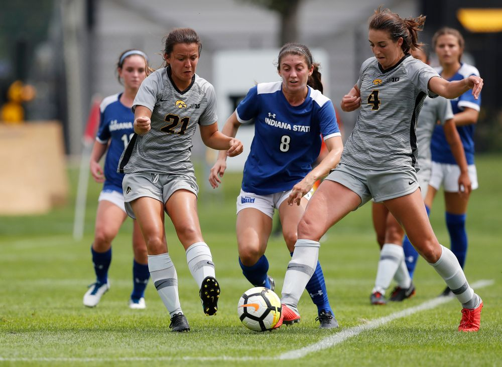 Iowa Hawkeyes Kaleigh Haus (4) and  Emma Tokuyama (21) against Indiana State Sunday, August 26, 2018 at the Iowa Soccer Complex. (Brian Ray/hawkeyesports.com)