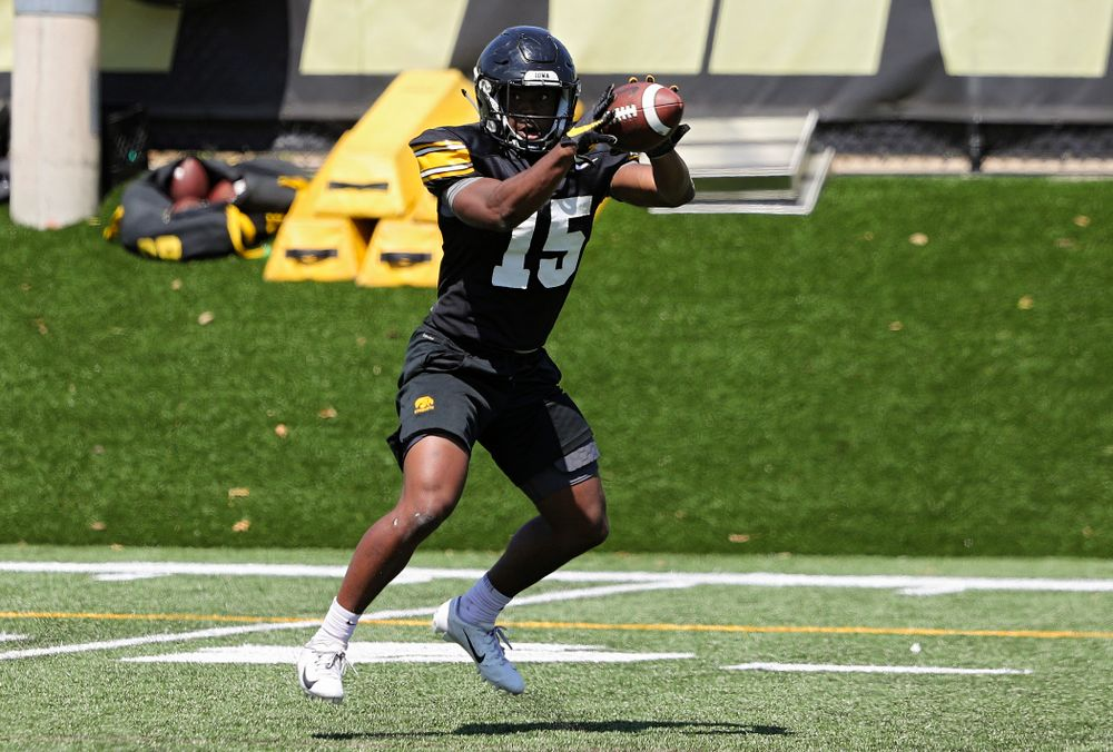 Iowa Hawkeyes running back Tyler Goodson (15) pulls in a pass during Fall Camp Practice No. 7 at the Hansen Football Performance Center in Iowa City on Friday, Aug 9, 2019. (Stephen Mally/hawkeyesports.com)