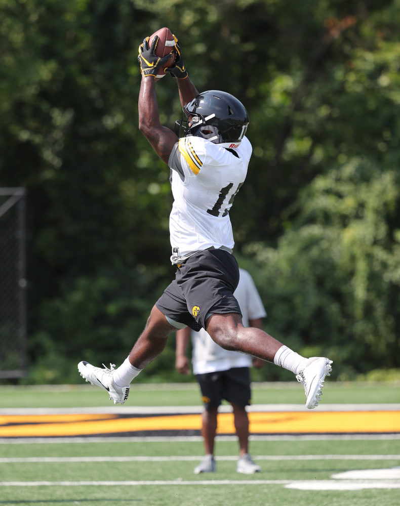 DallasCraddieth (15)during the third practice of fall camp Sunday, August 5, 2018 at the Kenyon Football Practice Facility. (Brian Ray/hawke