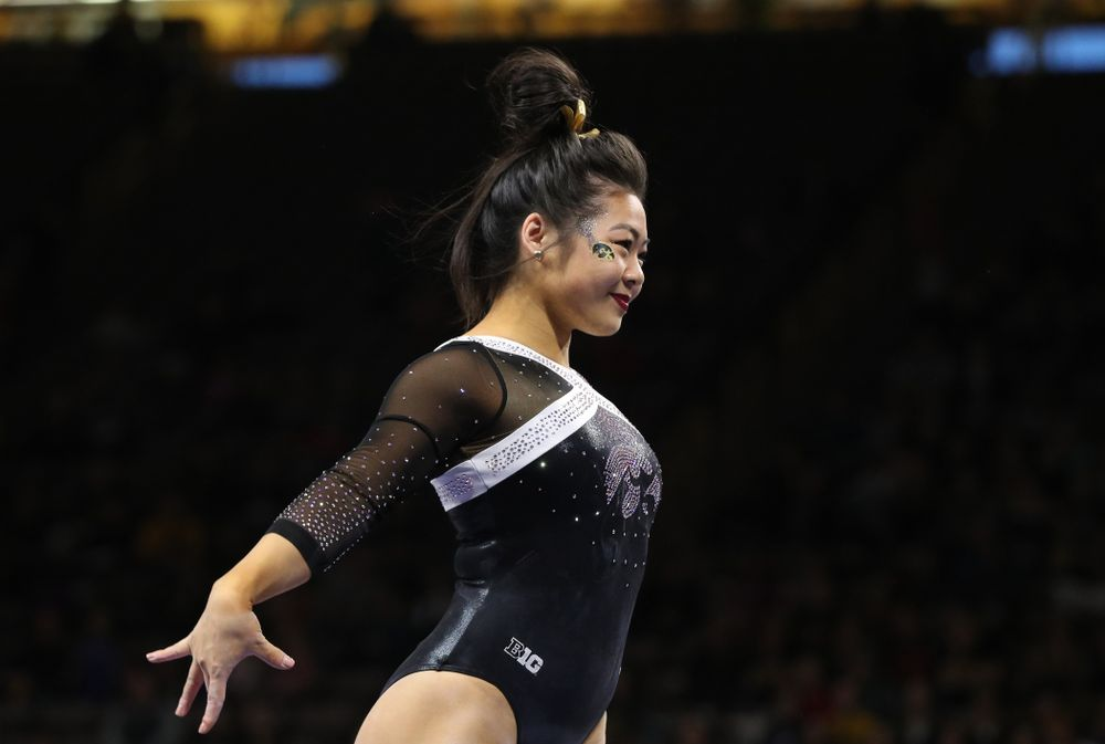 Iowa's Clair Kaji competes on the beam against the Rutgers Scarlet Knights Saturday, January 26, 2019 at Carver-Hawkeye Arena. (Brian Ray/hawkeyesports.com)