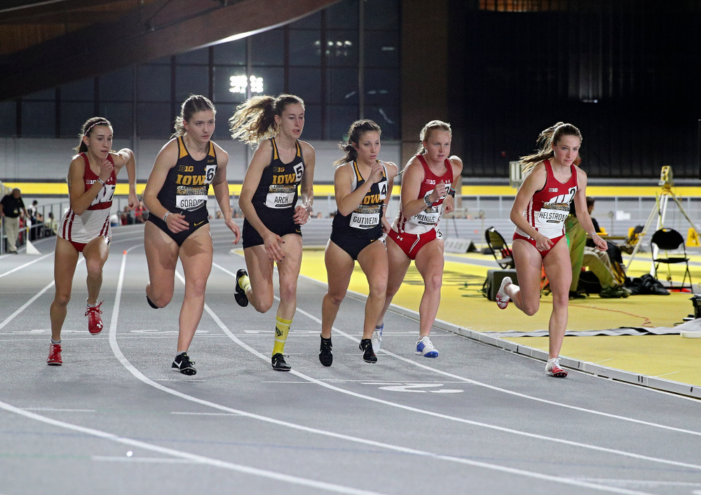 Iowa's Emma Gordon (from left), Mary Arch, and Maggie Gutwein run the women's 3000 meter run event during the Larry Wieczorek Invitational at the Recreation Building in Iowa City on Friday, January 17, 2020. (Stephen Mally/hawkeyesports.com)