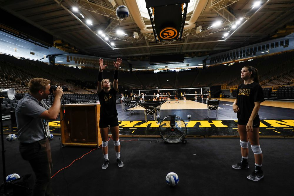 Iowa Hawkeyes outside hitter Meghan Buzzerio (5) and setter Courtney Buzzerio (2) during the team's annual media day Friday, August 17, 2018 at Carver-Hawkye Arena. (Brian Ray/hawkeyesports.com)