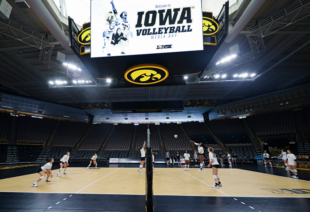 The Iowa Hawkeyes during Iowa Volleyball's Media Day at Carver-Hawkeye Arena in Iowa City on Friday, Aug 23, 2019. (Stephen Mally/hawkeyesports.com)