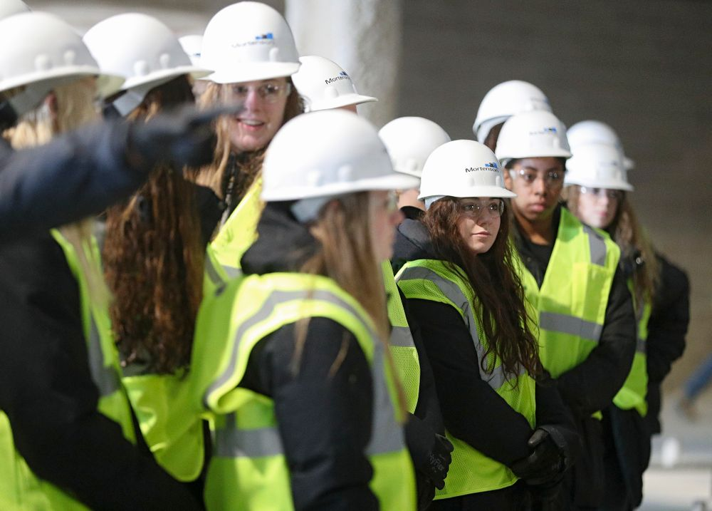 Iowa's Emma Lowes looks on as the Iowa Volleyball team and staff take a construction tour of Xtream Arena in Coralville on Thursday, January 30, 2020. (Stephen Mally/hawkeyesports.com)