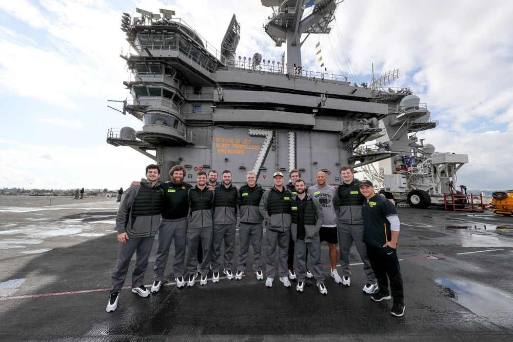 The Specialists during a tour of the USS Theodore Roosevelt (CVN-71) Tuesday, December 24, 2019 at the Naval Base Coronado. (Brian Ray/hawkeyesports.com)