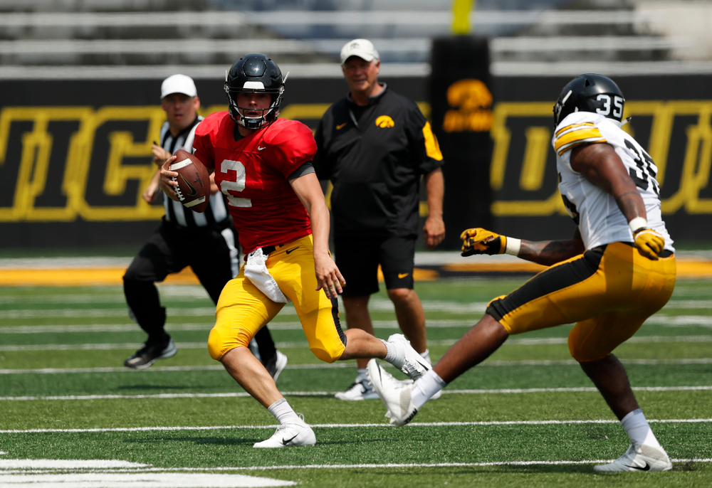 Iowa Hawkeyes quarterback Peyton Mansell (2) during Kids Day Saturday, August 11, 2018 at Kinnick Stadium. (Brian Ray/hawkeyesports.com)
