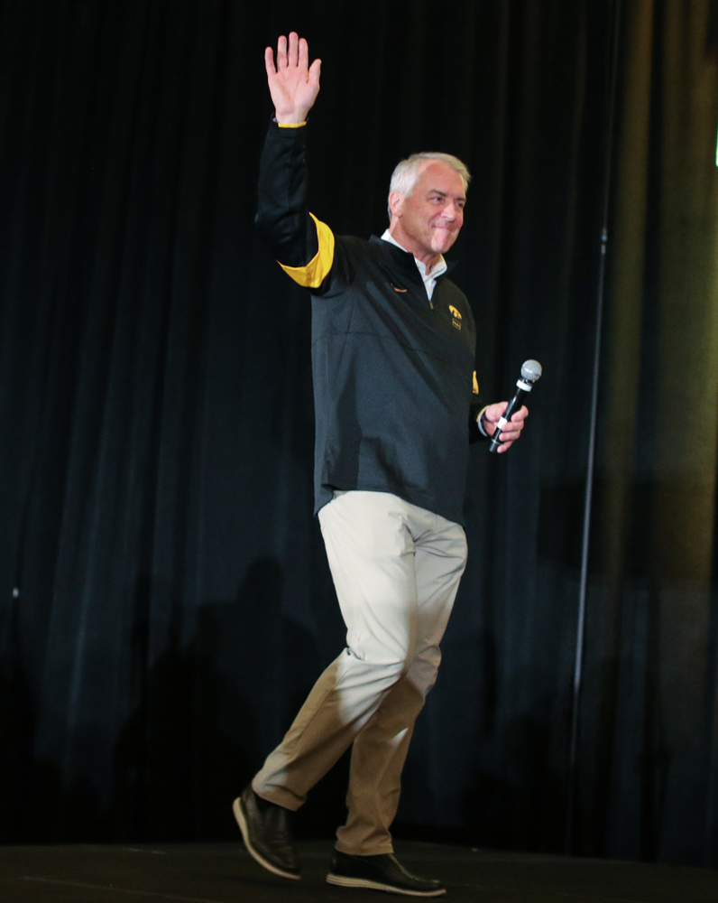 Henry B. and Patricia B. Tippie Director of Athletics Chair Gary Barta addresses the crowd during the Holiday Bowl Hawkeye Huddle Thursday, December 26, 2019 at the Hilton in downtown San Diego. (Brian Ray/hawkeyesports.com)
