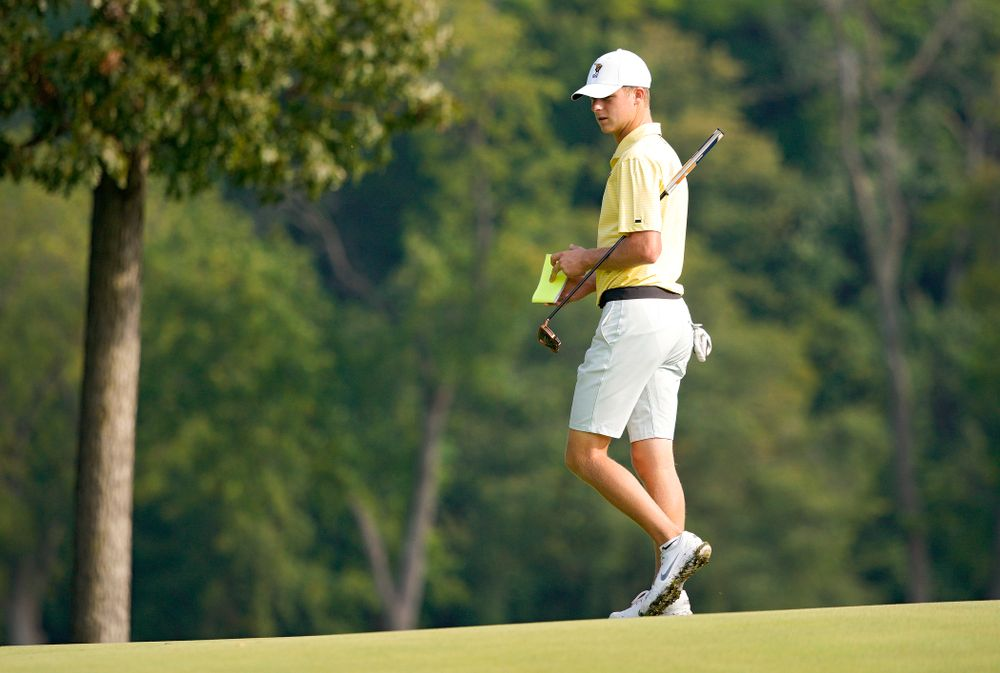 Iowa's Benton Weinberg walks around the green during the third day of the Golfweek Conference Challenge at the Cedar Rapids Country Club in Cedar Rapids on Tuesday, Sep 17, 2019. (Stephen Mally/hawkeyesports.com)