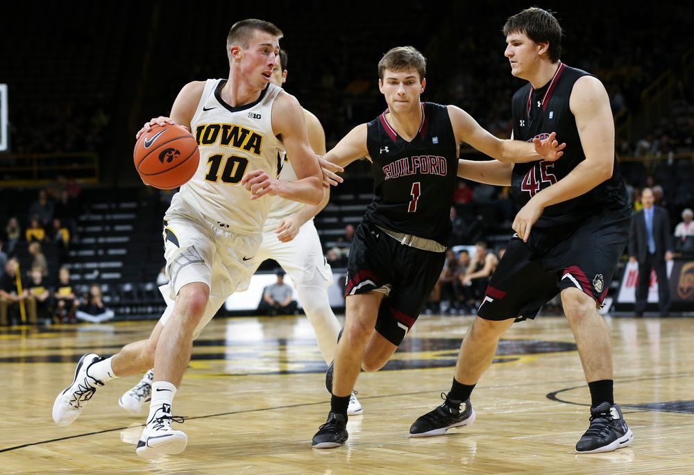 Iowa Hawkeyes guard Joe Wieskamp (10) drives to the basket during a game against Guilford College at Carver-Hawkeye Arena on November 4, 2018. (Tork Mason/hawkeyesports.com)