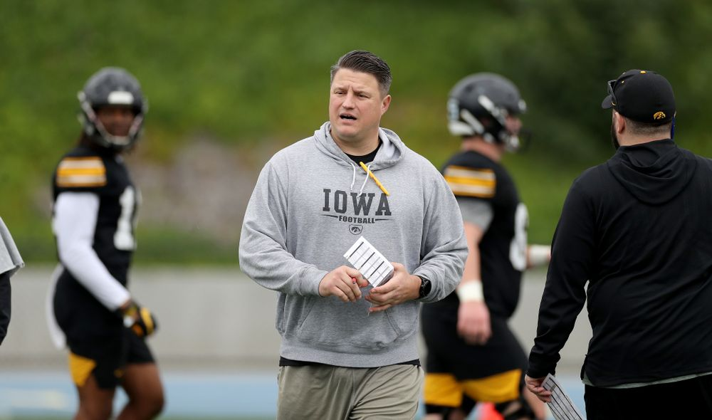 Iowa Hawkeyes offensive coordinator Brian Ferentz during practice Sunday, December 22, 2019 at Mesa College in San Diego. (Brian Ray/hawkeyesports.com)