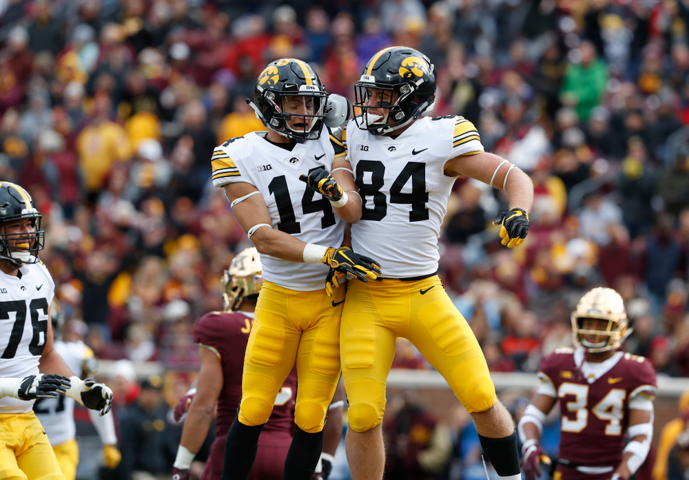 Iowa Hawkeyes wide receiver Nick Easley (84) and wide receiver Kyle Groeneweg (14) against the Minnesota Golden Gophers Saturday, October 6, 2018 at TCF Bank Stadium. (Brian Ray/hawkeyesports.com)