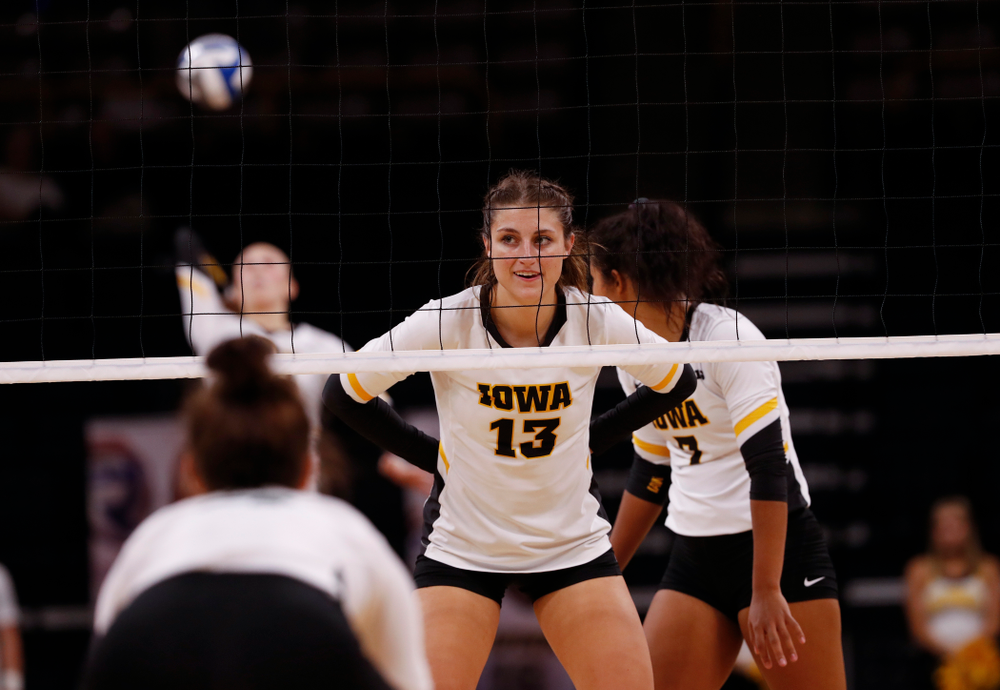 Iowa Hawkeyes middle blocker Sarah Wing (13) against the Michigan State Spartans Friday, September 21, 2018 at Carver-Hawkeye Arena. (Brian Ray/hawkeyesports.com)