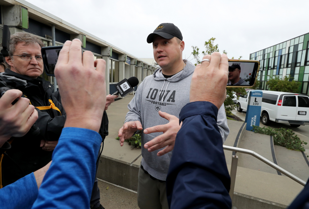 Iowa Hawkeyes offensive coordinator Brian Ferentz  answers questions from reporters following practice Monday, December 23, 2019 at Mesa College in San Diego. (Brian Ray/hawkeyesports.com)