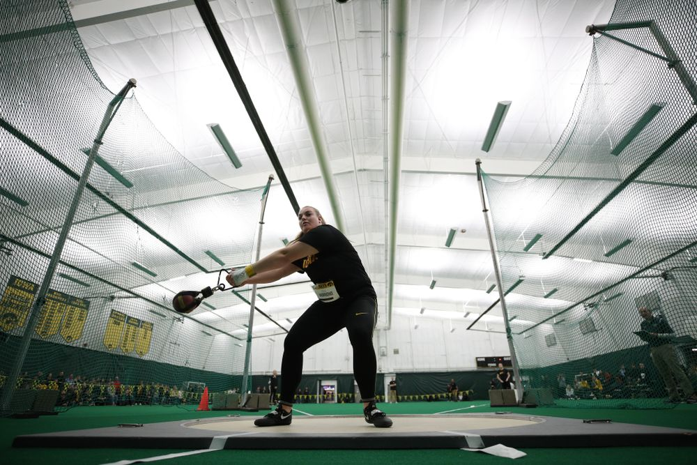 Iowa's Erika Hammond competes in the weight throw Friday, January 11, 2019 at the Hawkeye Tennis and Recreation Center. (Brian Ray/hawkeyesports.com)