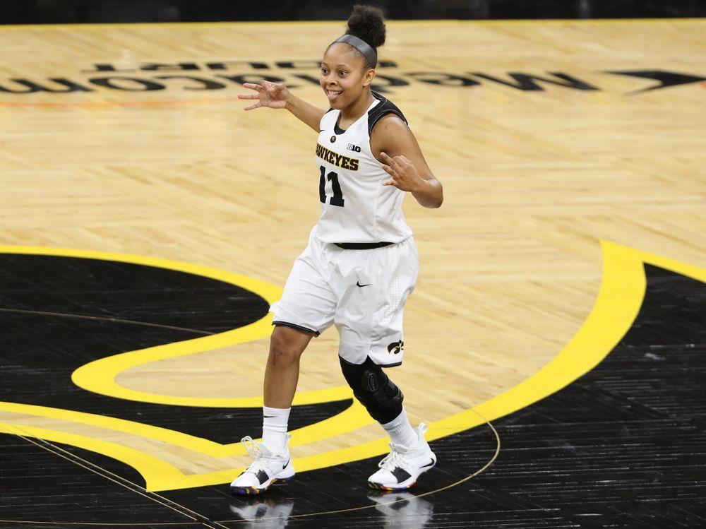 Iowa Hawkeyes guard Tania Davis (11) against Oral Roberts University Friday, November 9, 2018 at Carver-Hawkeye Arena. (Brian Ray/hawkeyesports.com)