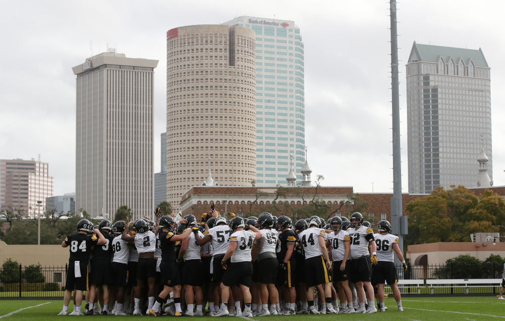 The Iowa Hawkeyes during practice for the 2019 Outback Bowl Friday, December 28, 2018 at the University of Tampa. (Brian Ray/hawkeyesports.com)