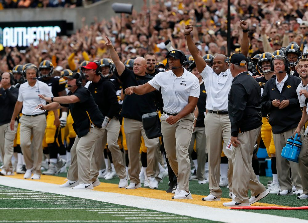Iowa Hawkeyes special teams coordinator celebrates a poor punt by the Iowa State Cyclones Saturday, September 8, 2018 at Kinnick Stadium. (Brian Ray/hawkeyesports.com)