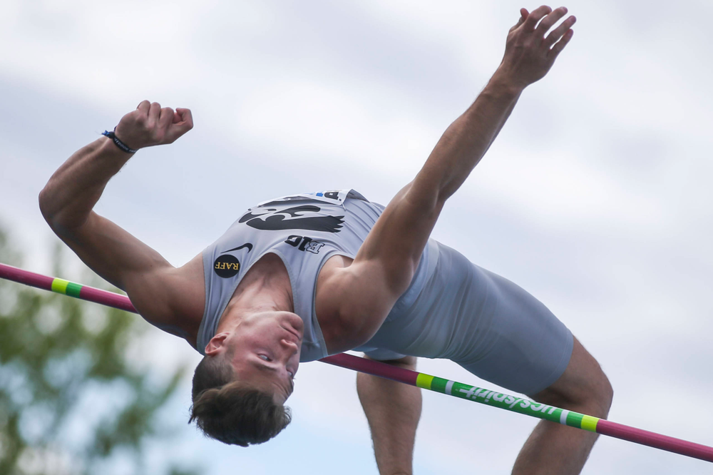 Iowa's Peyton Haack during men's high jump at Big Ten Outdoor Track and Field Championships at Francis X. Cretzmeyer Track on Friday, May 10, 2019. (Lily Smith/hawkeyesports.com)